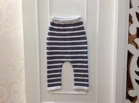 Wholesale 2015 high quality velvet thickened winter bottoms kids children s child toddler boy s girl s knitted striped harem pants baggy diaper pants