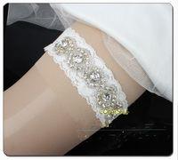 Wholesale Blingbling Lace Bridal Garters Handmade Flowers Wedding Leg Garters with Crystal Beads Bridal Accessories J1223