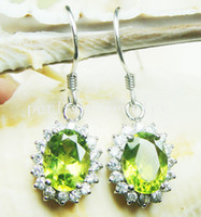 Wholesale Peridot earring Drop earring Natural real peridot earring sterling earring Perfect Jewelry Gemstone earrings DH