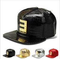 artificial adjust - 2015 Men s new golden PU Eminem hip hop hat baseball cap can be adjusted