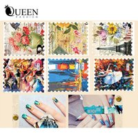 accessories postage - Designs Vintage Postage Stamp Water Transfer Nail Sticker Flower Butterfly Nail Decals Nail Decorations Tips Accessories