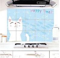 Wholesale Cute Cartoon Kitten Aluminum Oil Perot Sticker Kitchen Oil Stickers Decorative Stickers