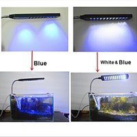 Wholesale Aquarium Accessories Fish Tank Water Plant LEDs W Clip Light Lighting Lamp Working Modes White Blue Flexible