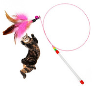 bell wire products - pc Pet cat toy Steel Wire Feather Teaser Wand Plastic With Bell Beads Toy for cats Color Multi Products For pet