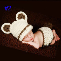 bear hat costume - Factory Little bear Crochet Baby HaFactot and Diaper Cover Costume Infant Hat Cocoon Set Crochet Beanie Photography Props