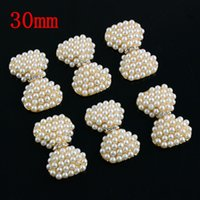 Wholesale 100pcs Alloy Bow Flowers Pearl Buttons mm Gold Rhinestone Bow For Hair Accessories PJ16