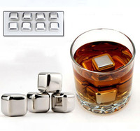 beer buckets - 8pcs box Stainless Steel Whisky Stones Wine Ice Rocks Whiskey Beer Cooler Stone Bar Tools Physical Cooling Ice Cube Viski Buzu