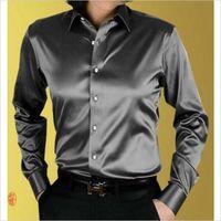 Wholesale New Arrival Custom Made Any Colors Elastic Silk Satin Men Wedding Shirt Groom Shirts Wear Bridegroom Slik Shirt For Men