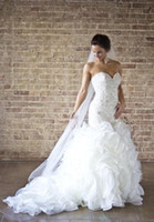 Wholesale NEW Hot Custome Made Wedding dresses Mermaid dresses bride dress trailing Sexy Pearl Organza Sweetheart Bridal Wedding Dress