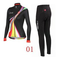 spandex clothing - 2014 Women Road Cycling Jersey Sets Black Pink Long Sleeve Winter Thermal Fleece Cycling Wear Close Fitting XS XL Bike Clothing