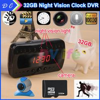 Wholesale 32GB V26 IR Clock Camera Full HD P Black Night Vision Alarm Mini DVR DV Video Recorder With Motion Detection Remote Control