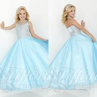 Cheap 2016 Sky Blue Long Pageant Dresses for Teens ALL Size Girls Dress Plus Size Halter Beads Crystals Girls Formal Party Dress Sleeveless