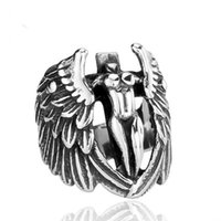 angels factory - NEW hot factory biker silver punk vintage Angel wings stylish Stainless Steel Mens Ring for
