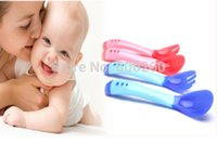 Wholesale Hot sales New Safety Temperature Sensing Spoon Baby Flatware Feeding Spoon order lt no tracking