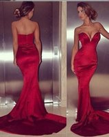 Wholesale Sexy Red Sweetheart Mermaid Satin Evening Gowns Backless Long Sweep Train Formal Prom Dresses BO7012