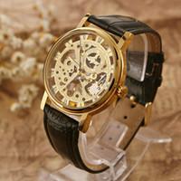 Wholesale WINNER See through Skeleton Dragon Pattern Hand winding Mechanical Watch PU Leather Watchband Fashion Analog Unisex Wristwatch J0719