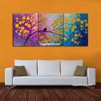 Wholesale Hand Painted Songs of Birds Large Canvas Art Yellow Flowers Wall Paintings Piece Home Decoration Large Oil Picture Set No Framed