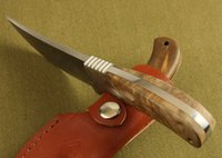 Wholesale Support drop shipping Browning African Rhino Hunting Knife Fixed blade outdoor Camping Knife brass wood handle with leather sheath