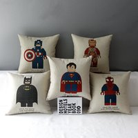 Wholesale Linen Cotton Cushion Cover Super Heros Spideman Superman Batman Ironman Captain America Pillowcase Decorative Pillow sham