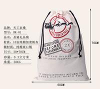 christmas bag - 2016 Christmas Large Canvas Monogrammable Santa Claus Drawstring Bag With Reindeers Monogramable Christmas Gifts Sack Bags