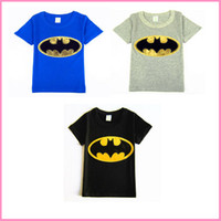 Wholesale 3 colors Boys Summer T Shirt newest cartoon boys Embroidered Batman cartoon short sleeve tshirt kids childrens summer black t shirt