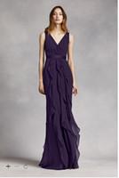 wrap dress - Vintage Designer Occasion Sheath V Neck Wrapped Bodice Dress with Satin Belt cut ruffles Floor Length VW360189 Bridesmaid Dresses