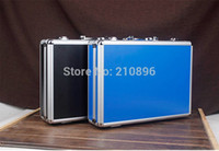 aluminum foam panels - New Style aluminum tool case equipment box for ipad high quality ABS panel black and blue diced foam included