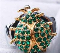 beetle animation - Creative Unique design Fashion quartz Animation cartoon charming diamante cute beetle Flip clock woman ring watches