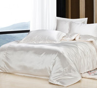 silk bedding - Custom Size Solid Color Bedding Set Milk White Silk Satin Bedding Sets King Size Comforter Sets Queen Full Twin Size Fitted Cover