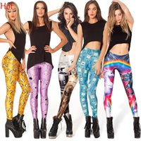 Spandex, Polyester american adventures - EAST KNITTING Leggings Womens Adventure Time Stretch Galaxy Leggings Sexy Printed Floral Leaves Map Ball Black Leggings Colors SV001424