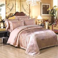 silk sheets - 2015 Hot Sale Luxury Jacquard Imated Silk Cotton Bedding Set Queen King Size Gold Graceful Duvet cover Set Pillow Sham Flat Sheet