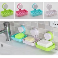 Wholesale 1pcs Candy Color Toilet Suction Cup Holder Bathroom Shower Soap Dish Home Hotel Travel Soap Dish tray Wall Holder Storage Box