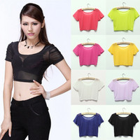 Wholesale 2015 Sexy Women Ladies Candy Color Mesh Sheer See Through Crop Tops Stretch Short T Shirt Color