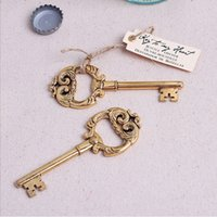 Wholesale Creative Retro Gold Alloy Key Bottle Opener With Card Wedding Favor Supplies For Party
