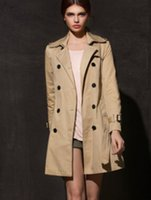 Wholesale New autumn and winter in Europe and America Women official website long coat double breasted coat khaki black windbreaker