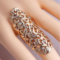 brass knuckles rings - Women s Fashion Rhinestone Hollow Out Leaf Flower Joint Armor Knuckle Punk Crystal Ring Full Finger Cluster Ring