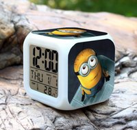 Wholesale Despicable me digital clock Lovely Minion Alarm Clock With Changing Colors Cute Cartoon LED Clock children s christmas gifts