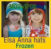 Wholesale MOQ frozen winter hat new Custom made Fashion crochet cute ELSA ANNA frozen crochet hats for children