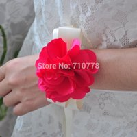arificial flowers - Handmade arificial silk ribbn wrist length flower wedding supplies bridesmaid red pearl accessories corsage