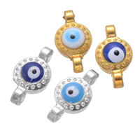 Wholesale New evil eye big hole metal beads connectors mm glazed zinc alloy Turkey evil eye DIY jewelry charm for bracelets