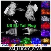 tail plug - X10 LED String Lights With Tail Plug M LED Xmas Wedding Party Home Garden Outdoor Tree Decorations Lamps Lighting V V Energy Save