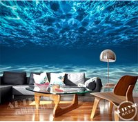 Wholesale Charming Deep sea Photo Wallpaper Custom Ocean Scenery wallpaper Large Mural Silk Wall painting Kids Bedroom Art Room Decor Home Decoration
