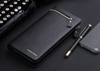 Wholesale fashion design leather men s wallet business style brand men s long wallet zipper wallet clutch
