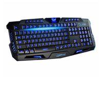 Teclado HK-M200 Tricolor retroiluminación del teclado 19 teclas de color azul atado con alambre LED Iluminado Juegos