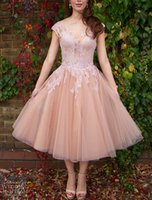 fabric tulle - Coral Short Bridesmaid Dresses Lace Tea Length Wedding Dresses With Applique A Line Crew Neck Cap Sleeves Tulle Fabric New Arrival