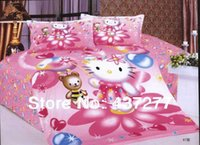 baby sham - Hello Kitty Pink Bed in A Bag Doona Duvet Cover Pillow Sham for Girl baby Cotton Bed Clothes Coverlet Comforter Bedding Sets