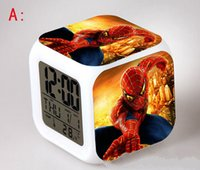 Wholesale Spider Man Digital Alarm Clock - Christmas Toys for Kids Spider Man LED 7 Colors Change Digital Alarm Clock Cartoon Anime Character Spider Man Night Colorful Glowing Clock
