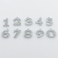 phone number - Hot Numbers Hang Charms Pendant Full Rhinestones Fit Necklace Bracelet Collar Cell Phone Charms HC57