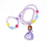 Wholesale DHL free Sofia jewellery sets girls chunky necklace bracelet kids christmas gifts children jewelry baby beads hair accessory Sophia princess