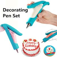 Wholesale 1 x Blue Pastry Icing Cream Piping Bag Nozzle Tips Fondant Cake Decorate Pen Set Tool